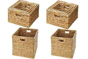 8 Stück (2 Sets) Aufbewahrungskorb Box Organizer Korb Regalkorb Wasserhyazinthe