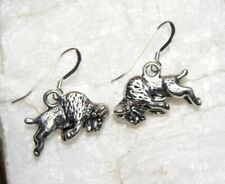 Buffalo Earrings animals bison 925 sterling silver hooks pewter charms