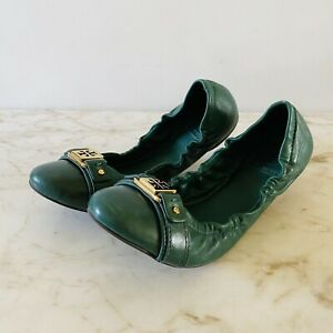 TORY BURCH Solid Dark Green Leather Bendable Ballerina Flats - US 8.5