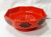 Vintage Royal Haeger Pottery, Retro Flower Burnt-Orange Octagon Compote #3116-S