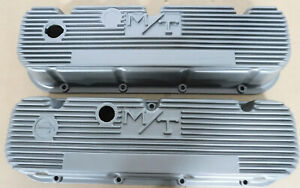 M/T 140R-48B Valve Cover, Early BB Chevy W/Logo, Painter Silver, Finned, Pair