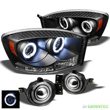 For 06-08 Dodge Ram LED Projector Blk Headlights+Halo Projector Fog Light Lamp