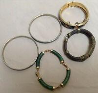 Vintage Bangle Bracelet Lot Of 5 - Mexico Sterling - Jade - Cloisonne - Leather