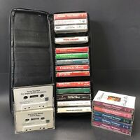Lot Of 21 Christmas Cassette Tapes Streisand Gayle Strait +More w/Zippered Case