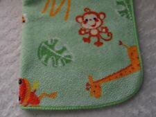 Fisher Price Baby Blanket Green Tiger Monkey Frog Leaves Giraffe Jungle Animals