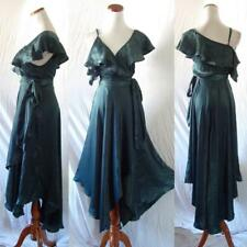 NEW NYE Anthropologie DARK GREEN SATIN Ruffle SPANISH COCKTAIL WRAP Midi DRESS M