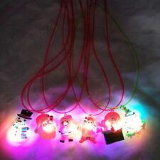 Christmas LED Flashing Light Santa Claus Chain Necklace Pendant Jewelry Kid Gift