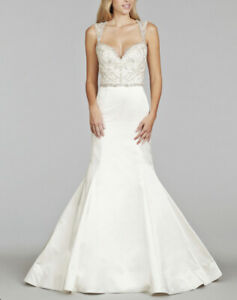 Jim Hjelm 8404 Crystal Embroidered Wedding Dress Sz 2 Cut Out Back Silk Organza