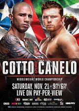 MIGUEL COTTO contro CANELO ALVAREZ/Original full-size HBO BOXING lotta POSTER