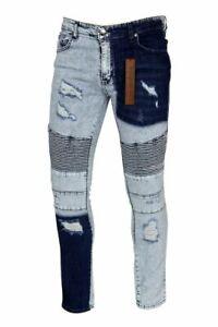 Mens Peviani Slim Fit Ripped Jeans Stretch Biker Two Tone Distressed Denim Pants