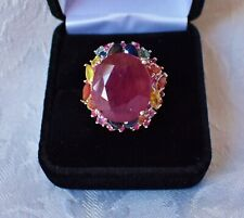 NATURAL BIG! 15 x 18 mm RUBY & FANCY SAPPHIRE RING, SZ. 7  WHITE GOLD/925 SILVER