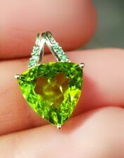 HUGE Natural Peridot & Emerald Solid 9K Yellow Gold Pendant Necklace Cocktail