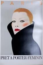 PRET A PORTER FEMININ FASHION POSTER BY RAZZIA ORIGINAL 1980'S PARIS FASHION