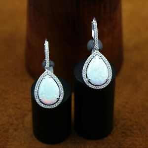 """Signed Lab Created """"Opal & White Sapphire"""" Halo Dangle Earrings Sterling Silver"""