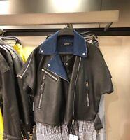 BNWT RRP$99 ZARA Faux Leather Contrasting Biker Jacket Black Size S M L