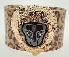 Lion Face Bracelet with Leopard Print Band by Chuns, 5.75inches