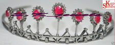 Royal 14.40cts Rose Cut Diamond Ruby Victorian / Antique  Style Tiara in silver