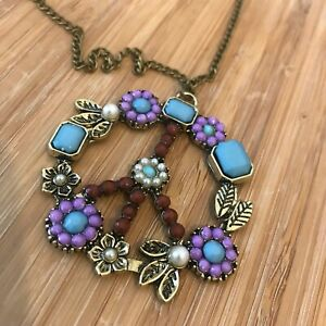 Long Peace Chain Necklace Colourful Bronze Gold Style Statement Flowers Antique