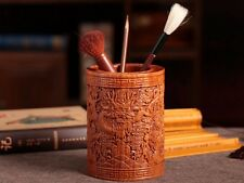 Carving Dragon Cloud Red Sandalwood Brush Pot Holder Painting Calligraphy Tool