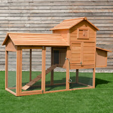 "80"" Chicken Coop Cage Large Wooden House Rabbit Hutch Outdoor Backyard w Run"