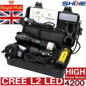 Tactical Flashlight 20000LM CREE L2 LED Zoomable Rechargeable Torch Lamp  Royal