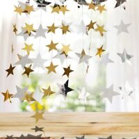 4m Charm Gold Silver Star Home Party Decor Paper Garland Wedding Bunting-Banner