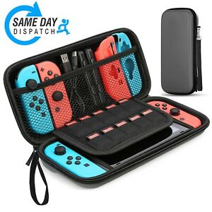Case For Nintendo Switch Black Eva Hard Travel Cover With 10 Games Storage Strap