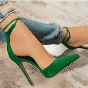 Sexy Women's Pointed Toe Stilettos Heel Pumps Faux Suede Prom Party Shoes Sandal