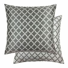 "JACQUARD MOROCCAN-STYLE PATTERNED SILVER WHITE 22"" - 55CM CUSHION COVER"