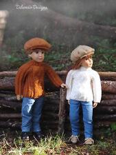 "Knitting Pattern Donovan textured sweater w/hat for SLIM 18"" Kidz'n'Cats dolls"