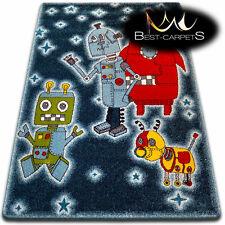 Soft Carpets Bedroom Boys Girls Thick Children Rug 'KIDS' ROBOTS FUN Rugs LARGE