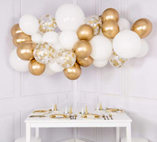 Ballon DIY Girlanden Set Weiß/Gold/Konfetti