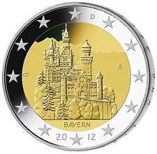 2012 Germany € 2 Euro UNC Coin Bavaria - Neuschwanstein Castle - Hamburg (J)