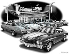"CHEVELLE 1972 MUSCLE CAR AUTO ART PRINT #1226 ""FREE USA SHIPPING"""