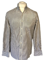 Lacoste Men's Casual Shirt Blue White Striped 39 Medium 100% Cotton L/S Marks