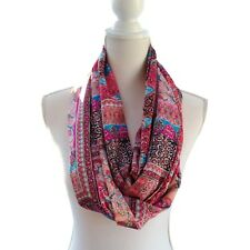 New Womens Infinity Scarf Light Lightweight Loop Snood Cowl Pink Blue Fabric