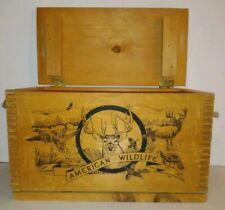 "American Wildlife by Evans Wood Rope Hinged Lid Buck Hunting Ammo Box 16""x10""x8"""