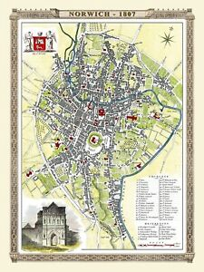 History Portal Map of Norwich 1807 by Cole & Roper 1000 Pc Jigsaw Puzzle (jg)