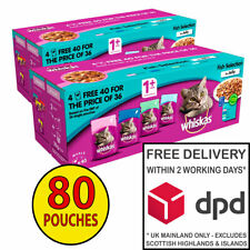 Whiskas Adult Cat Food in Jelly Fish Selection 2 x (40x100g) = 80 Pouches!