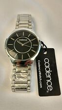 Cadence watch Black Face Silver Accents Stainless Steel Case NEW NICE