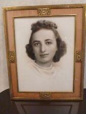 Vtg 1940-50s Framed Photo Young Woman Chidnoff NY Female Portrait Brass Frame