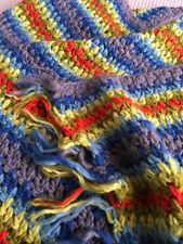 contemporary modern crochet throw, pure chunky wool, hand made and cosy