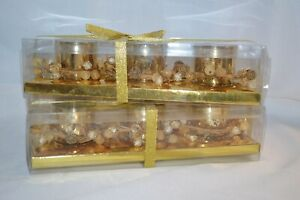 2X Tealight DECOR Gold 6 Candle HOLDERS Speckled Glass WEDDING Party HOLIDAY NEW