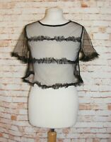 Diffuse crop top size 8 short sleeve frilly detail super sheer mesh black BNWT