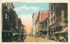 1930 Market Street autos Trolley Wheeling West Virginia Tichnor postcard 5271