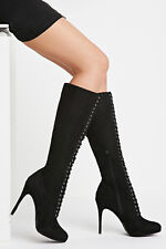 BRAND NEW GENUINE FOREVER 21 ULTRA SEXY KNEE HIGH LACE UP BOOTS 5.5