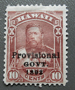 Hawaii 1893 Black Overprint 10¢ Kalakaua Stamp #68 MH CV $12