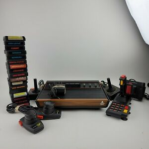 Atari 2600 Console, 5 Joystick, & 17 Games Lot Untested For Parts 6 Switch