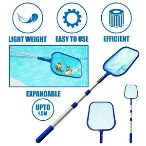 3 WAY TELESCOPIC SWIMMING POOL LEAF DEBRIS SKIMMER MESH NET CLEANING WITH POLE