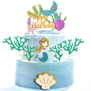 Glitter Mermaid Theme Birthday Cake Topper with Seaweed and Mermaid, Cake Cupcak